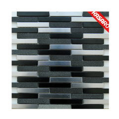 New Design Strip Stainless Steel Mix Stone Pattern Tile, Ideas for Kitchen and TV Backsplash Wall Metal Mosaic
