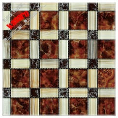Wall glass mosaic art drawing,square mix ice crackle glass mosaic tile(KY-ZR2013265)
