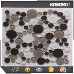 White Circle Glass Mix Stone Mosaic Bubble Glass Tile