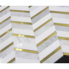 China Statuary White And Stainless Steel Mixed Herringbone Marble Mosaic