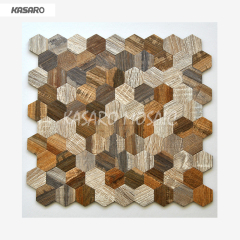 Wood Look Mosaic Wall Tile 4mm Aluminum Composite Panel