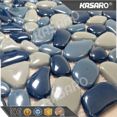 Pebble design for swimming pool iridescent glass mosaic pool tile
