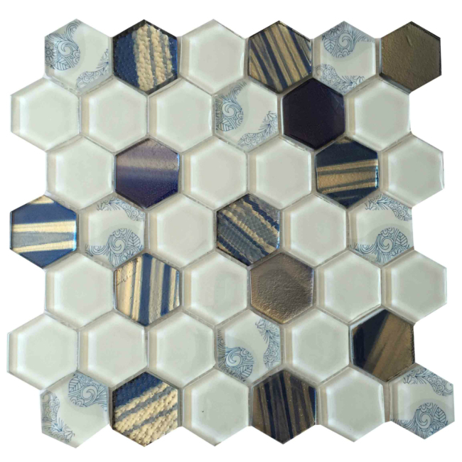 Mix Color Hexagon Crystal Glass Mosaic