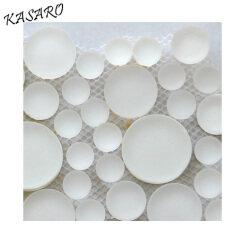 Round Mosaic Glass, White Tile Mosaic Circle Glass Mosaic