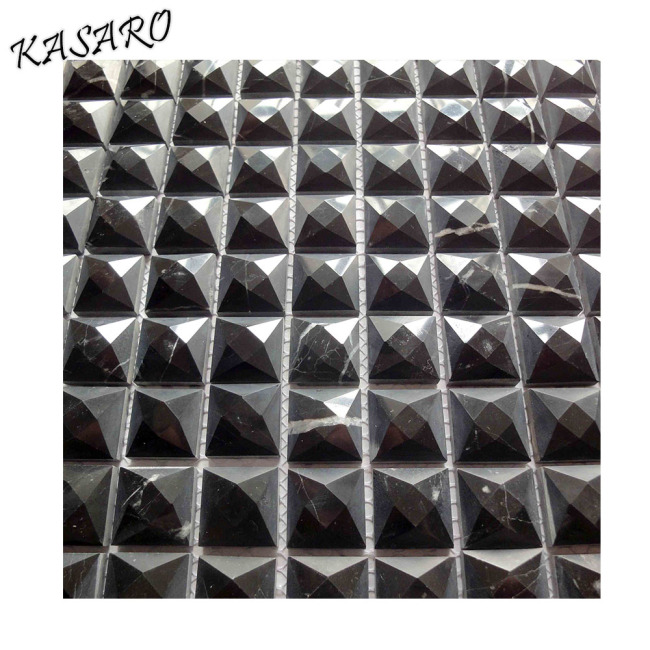 Black Marble Stone Mosaic 3D Wall and Floor Tile