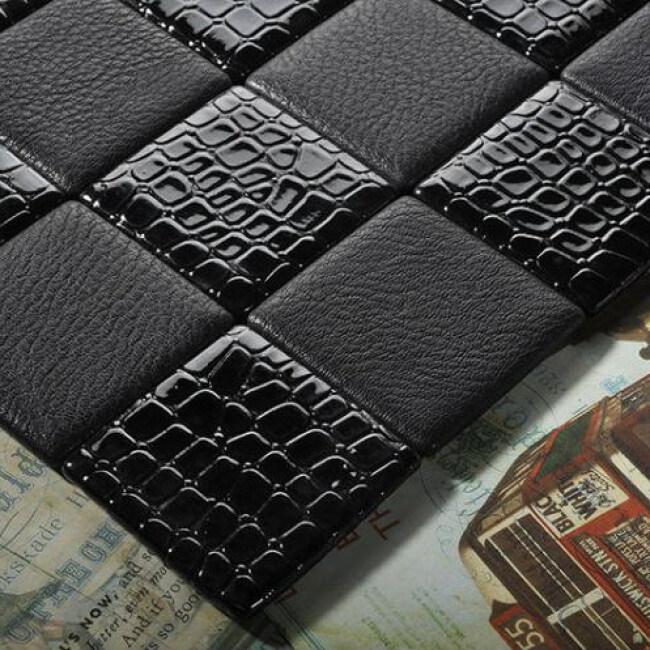 Kasaro black decorative leather mosaic wall tiles KL-S4073103