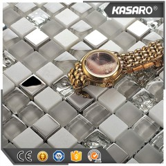 White And Grey Glass Mix Stone And Stainless Steel Mix Material Mosaic Tile