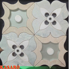 Water Jet Cut Mosaic, Stone Mixed Glass Mosaic Tile Water Jet Marble Designs Mosaics (KSL135175)