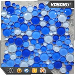 Round Blue Glass Mosaic Tile   For Bathroom