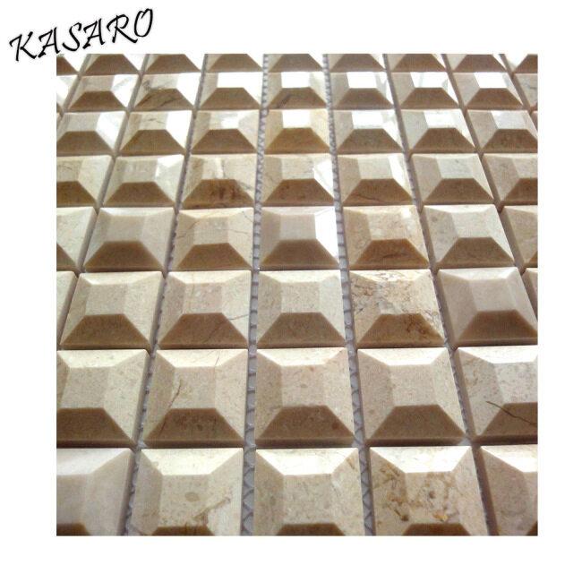 5 Facets Beige Marble Mosaic 3d Tiles For Bathroom Floor