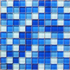 Swimming pool Bathroom Square Blues Glass Mosaic