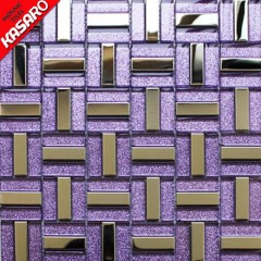 purple glitter crystal glass mosaic tile