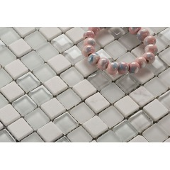 White bathroom wall tile design Frosted Glass mosaic stone mosaic mix tile Cheap mosaic tile sheets KGS-S3033