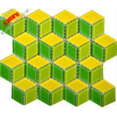 Rhombus Glass Mosaic Tile,Glass Mosaic Tile For Bathroom,Green Mix Yellow Glass Mosaic