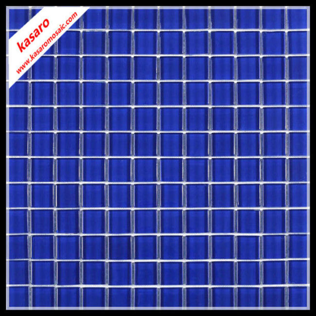 Dark blue glass mosaic, blue mosaic for swimming pool , glossy glass mosaic tile(KY-ZR2013228)