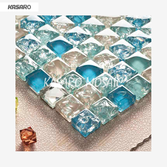 Wholesale Ice Crackle Glass Mosaic Tile, Blue Crackle Glass Mosaic Tile, Color Cheap Cracked Crystal Glass Mosaic