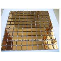 Square Mirror Golden Color Glass Mosaic tile