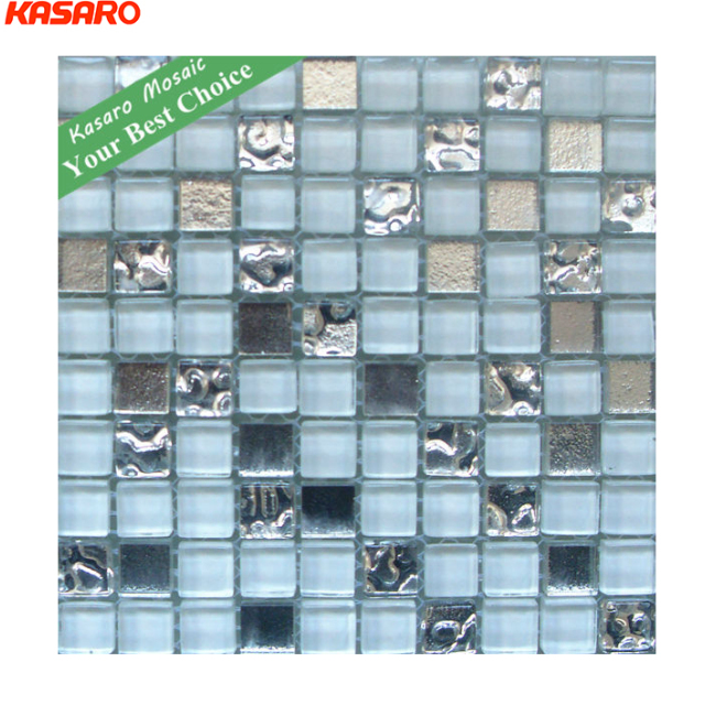 Beautiful Glass Wall Tile With Silver Mosaic Tiles(KN-13011711)