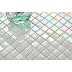 White Iridescent Vitreous Glass Mosaic Tiles Sheet