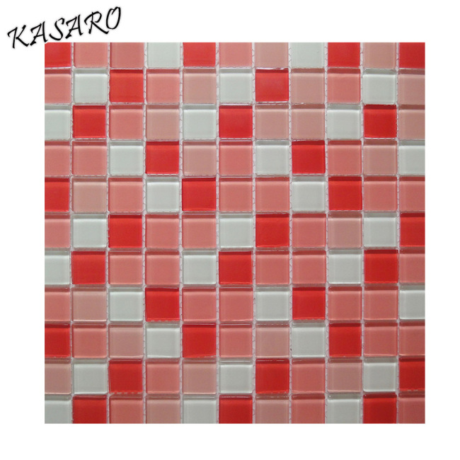 Pink Glass Mosaic Swimming Pool Tile