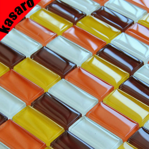 Yellow and Orange Crystal glass mosaic tiles Linear glass mosaic tiles bathroom glass mosaic tiles KY-ZR2013473