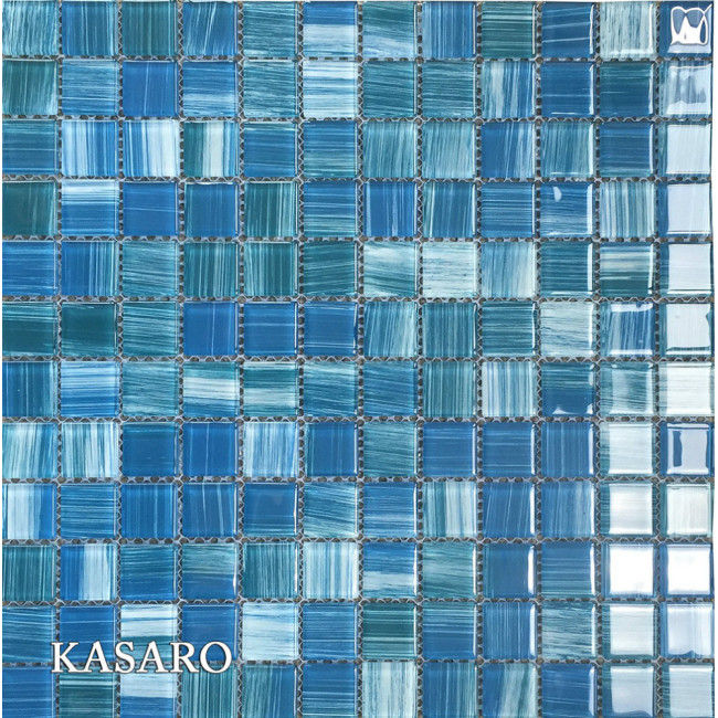 Bathroom Floor Tiling Blue Crystal Glass Mosaic Tile
