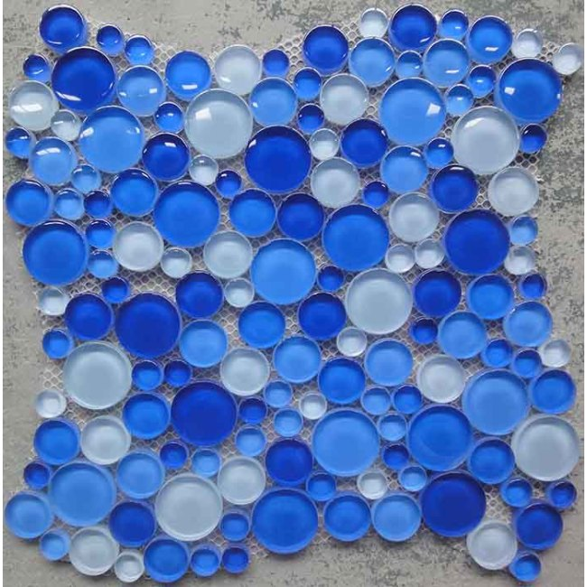 Blue Glass Round Mosaic Tile Round Pebble Mosaic For Swimming Pool