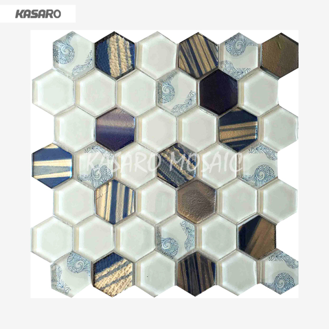 White Glass Mosaic Tile Bathroom Wall Mosaic Hexagonal Tile