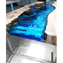 Unique design solid wood crystal clear epoxy resin dining table river live edge table
