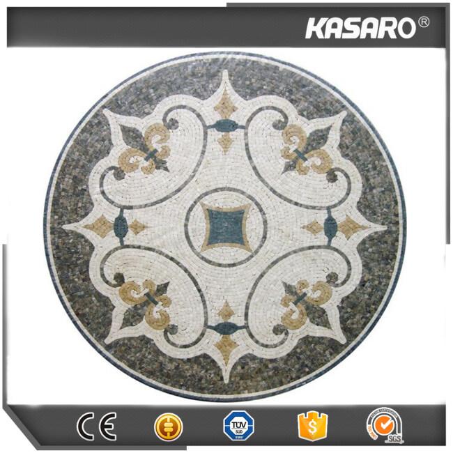 Marble Tile Round Mosaic Medallion Floor Pattern, Entry Floor Marble Medallion, Mosaic Tabletop Patterns KS-R3002