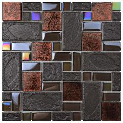 Leaf Pattern Gold Foil Iridescent Glass Mosaic Wall Tile