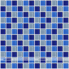 Swimming Pool Square Blue Glass Mosaic Tile For Pool Tiles For Sale