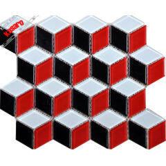Red black and white diamond shape rhombus glass crystal mosaic tile