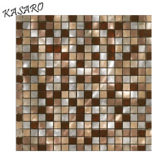 ALUBRUSH PAINTED Greens Aluminum Mosaic With Fireglass Mesh 15x15MM