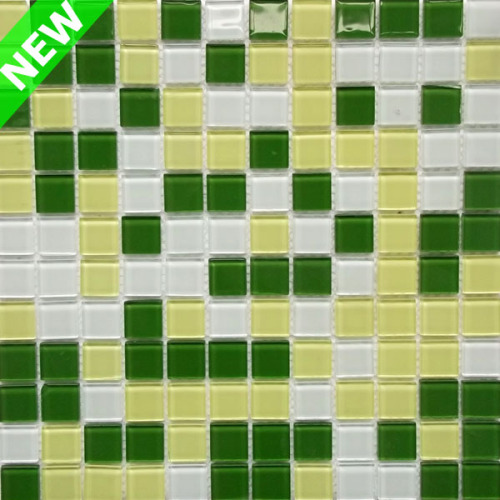 Yellow and Green Color Glass Mosaic, Bathroom Wall Mosaic Tile, Decorative Wall Mosaic Tile