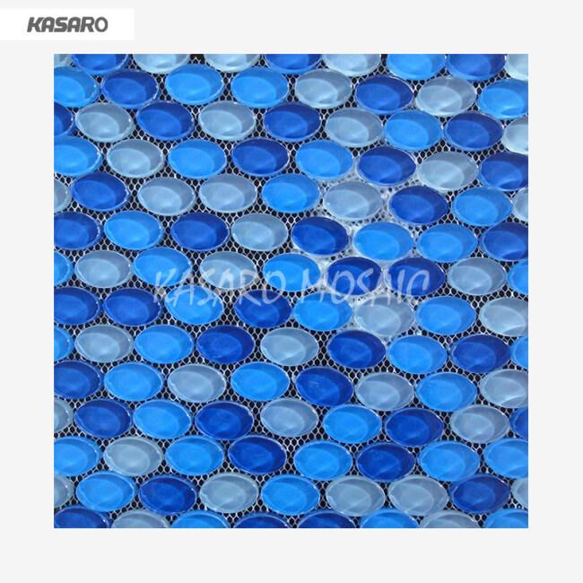 Pebble Pattern Glass Blue River Pebble Tile