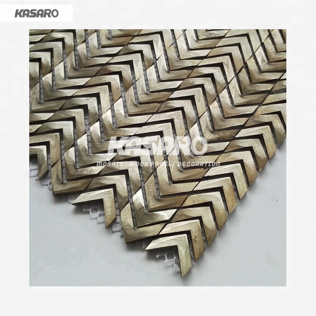 Premium Aluminum Mosaic Tile Arrow Shape Metal Tile For Star Hotel Wall Decoration