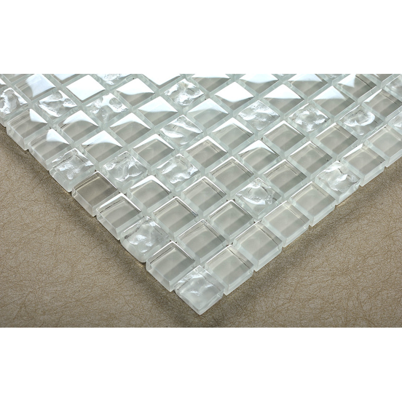 White Wave Crystal Glass Mosaic Tile,Glass Mosaic Clear Transparent,Transparent Glass Mosaic