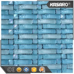Wave Blues Sliver Mirror Crystal Glass Mosaic Pattern Tile