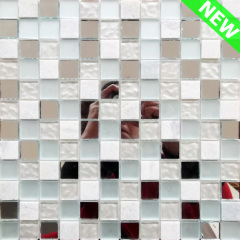 White Stone Mix Mirror Glass Mosaic Wall Tile for Living Room