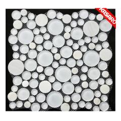 Milky White Bubble Tile, Glass Tile Round Mosaic, Glass Mosaic Tiles Circles (KGS20130066)