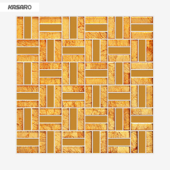 Wall Decoration Tiles Gold Leaf Glass Mosaic Tile Gold Color Glass Mosaic Tile