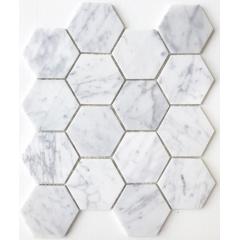 Factory carrara white marble mosaic tiles stone wall panel pattern