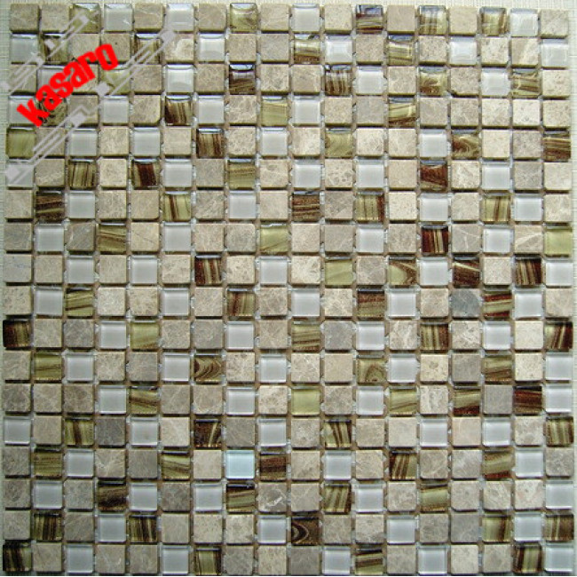 15x15 House designs decorative wall and floor tiles Glass stone mosaic Wall Tile (KGS-S3010)