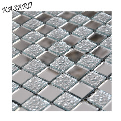 Silver crackle glass mosaic mirror tile for bathroom wall
