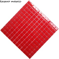 Square Red iridescent Glass big chip Mosaic Tile