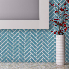 Sea  Ceramic Herringbone Mosaic Wall Tile