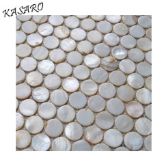 White round penny mother of pearl mosaic tile for kitchen
