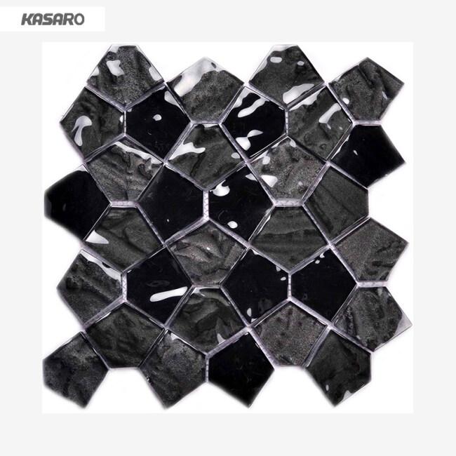 Black Glass Tile For Bathroom Wall Tile