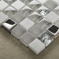 Wholesale Glass Stone and Stainless Steel Mosaic Tile Bathroom Mosaic Tile Wall Stainless steel mix Glass Mosaic Tile